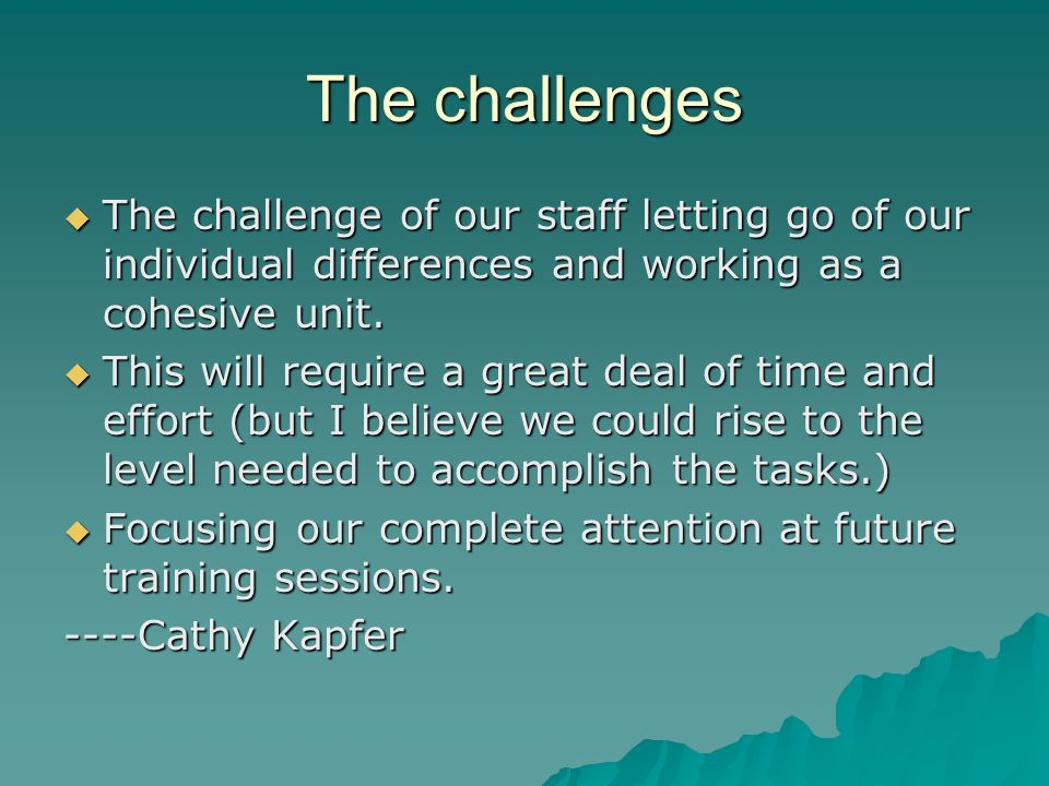 The challenges The challenge of our staff letting go of our individual differences and working as a cohesive unit.