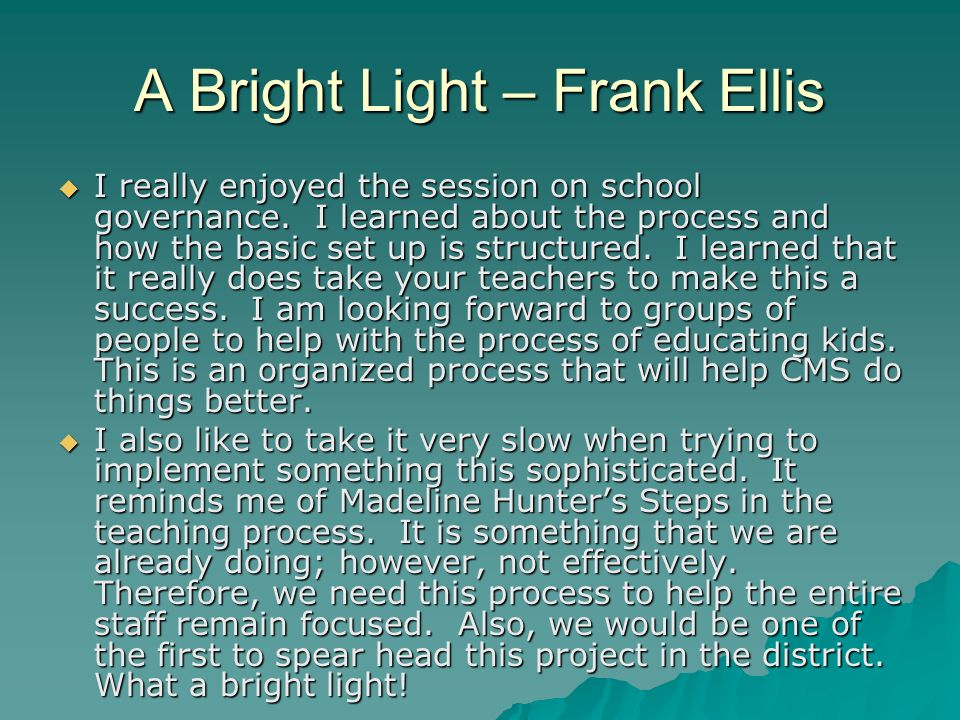 A Bright Light – Frank Ellis I really enjoyed the session on school governance.