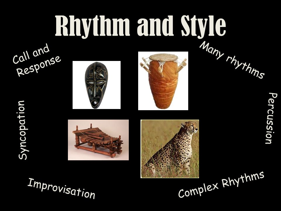 Rhythm and Style Call and Response Many rhythms Percussion Syncopation Improvisation Complex Rhythms