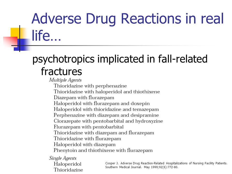 Adverse Drug Reactions in real life… psychotropics implicated in fall-related fractures Cooper J.