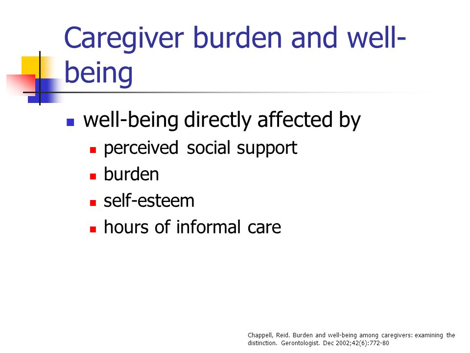 Caregiver burden and well- being well-being directly affected by perceived social support burden self-esteem hours of informal care Chappell, Reid.