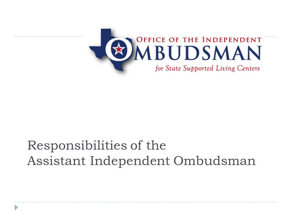 Responsibilities of the Assistant Independent Ombudsman