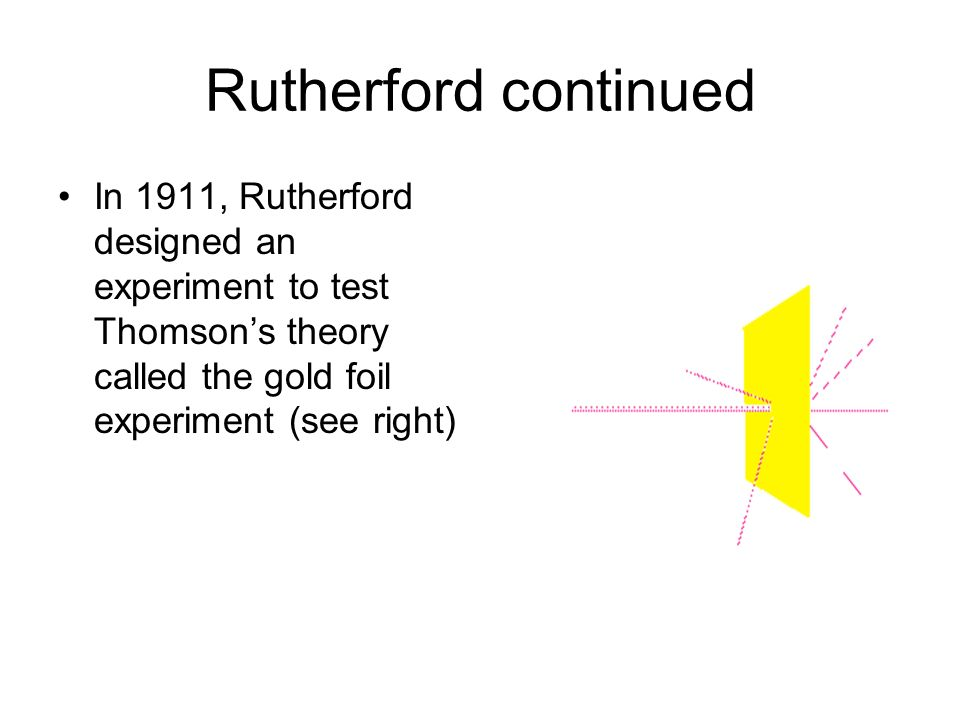 Rutherford continued In 1911, Rutherford designed an experiment to test Thomsons theory called the gold foil experiment (see right)