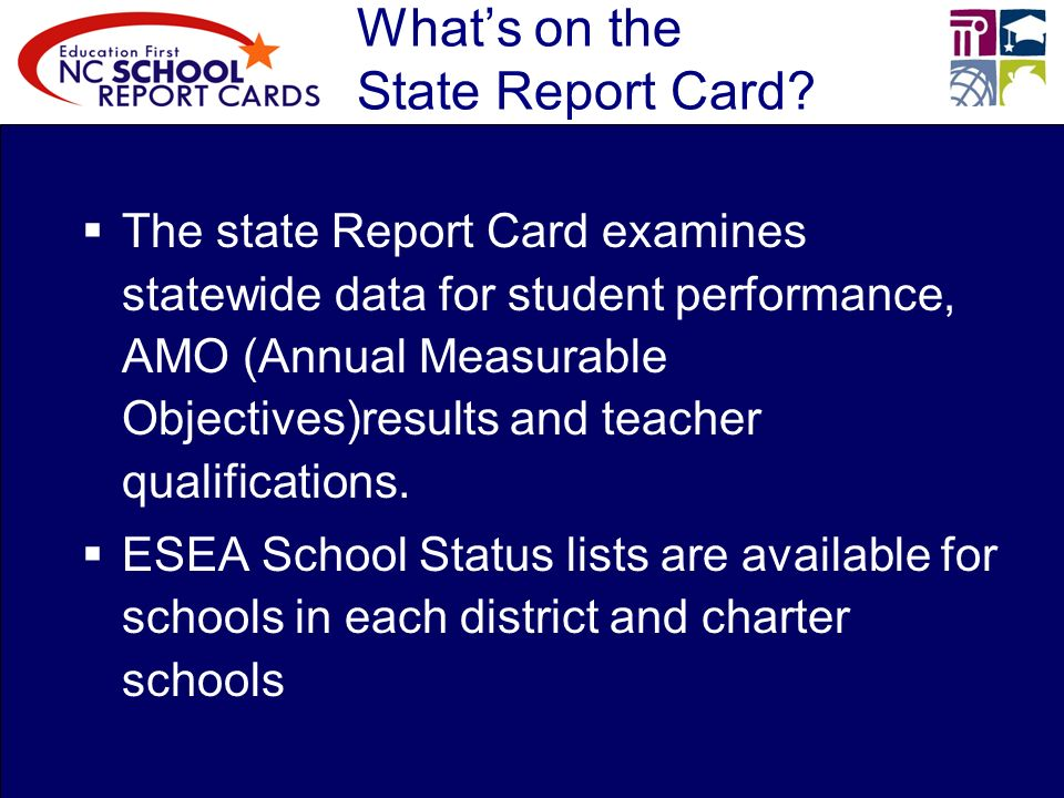 Whats on the State Report Card.