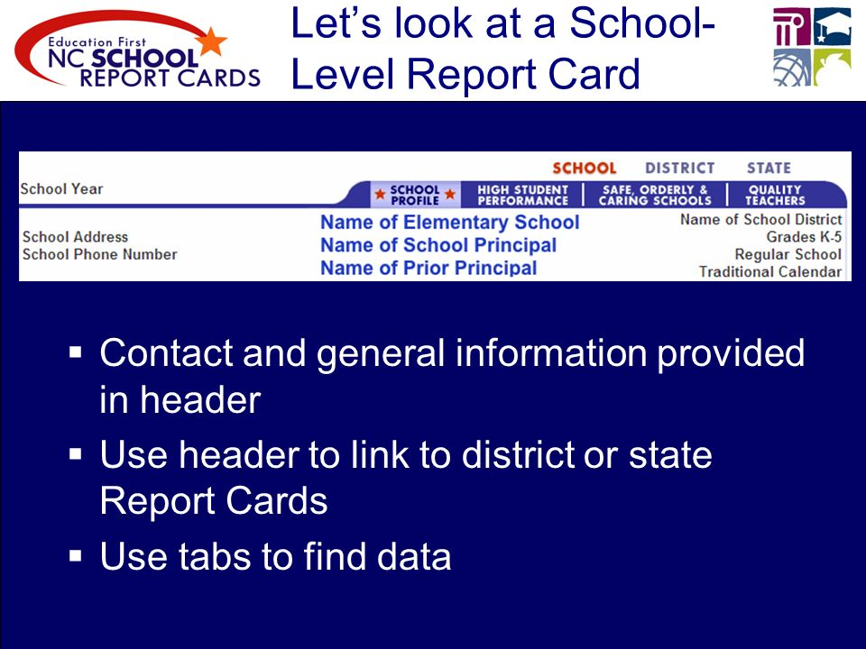 Lets look at a School- Level Report Card Contact and general information provided in header Use header to link to district or state Report Cards Use tabs to find data