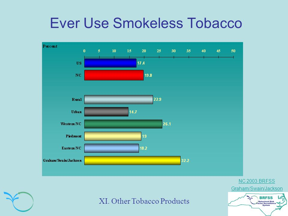 NC 2003 BRFSS Graham/Swain/Jackson Ever Use Smokeless Tobacco XI. Other Tobacco Products