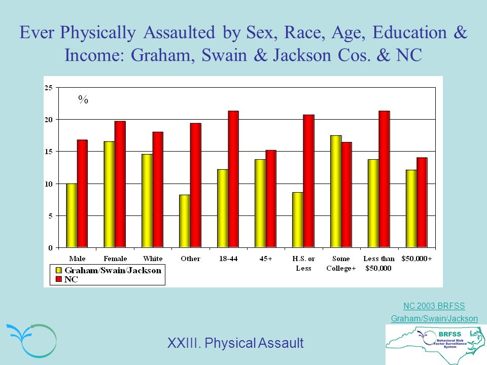 NC 2003 BRFSS Graham/Swain/Jackson Ever Physically Assaulted by Sex, Race, Age, Education & Income: Graham, Swain & Jackson Cos.