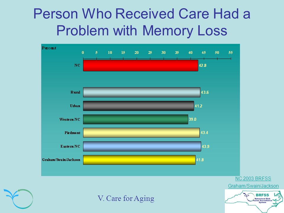 NC 2003 BRFSS Graham/Swain/Jackson Person Who Received Care Had a Problem with Memory Loss V.