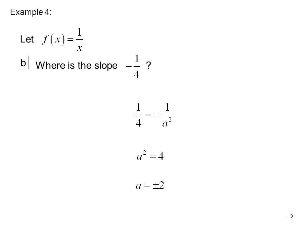 Example 4: b Where is the slope Let