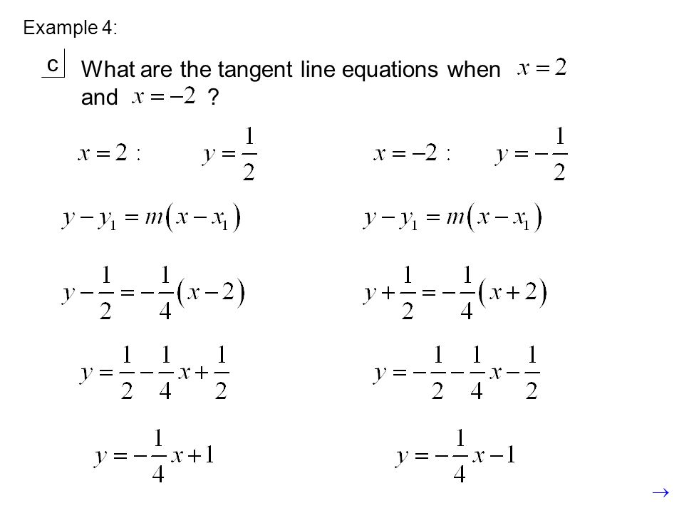 Example 4: c What are the tangent line equations when and