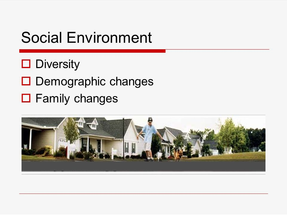 Social Environment Diversity Demographic changes Family changes