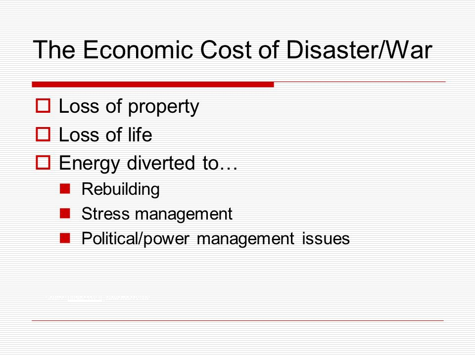 The Economic Cost of Disaster/War Source: Business 2.0, November 2002.