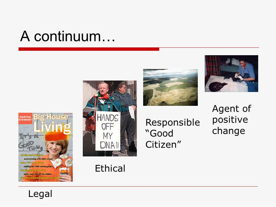 A continuum… Legal Ethical Responsible Good Citizen Agent of positive change
