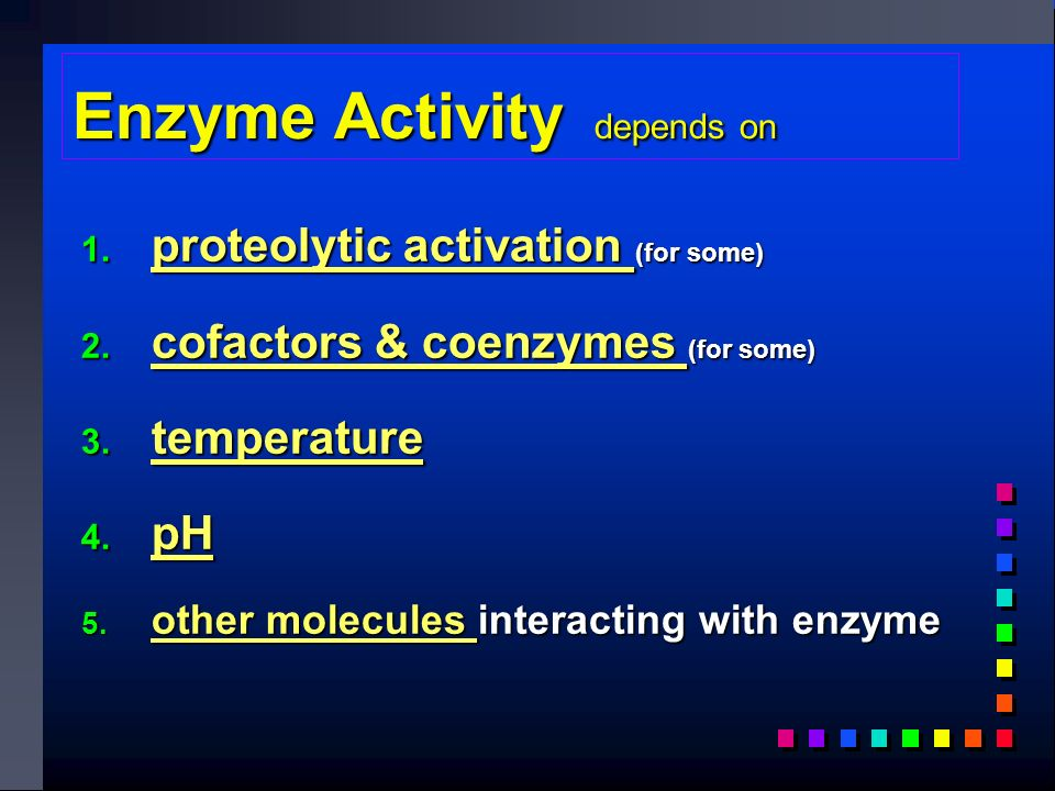 Enzyme Activity depends on 1.