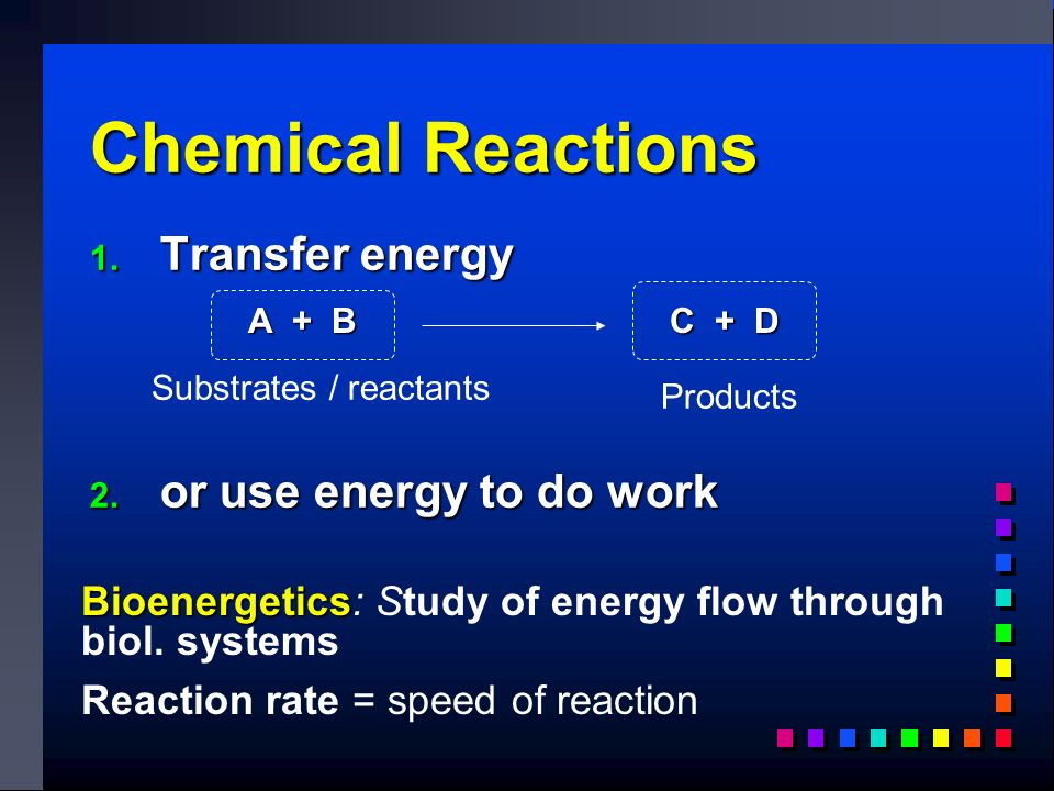 Chemical Reactions 1. Transfer energy 2.