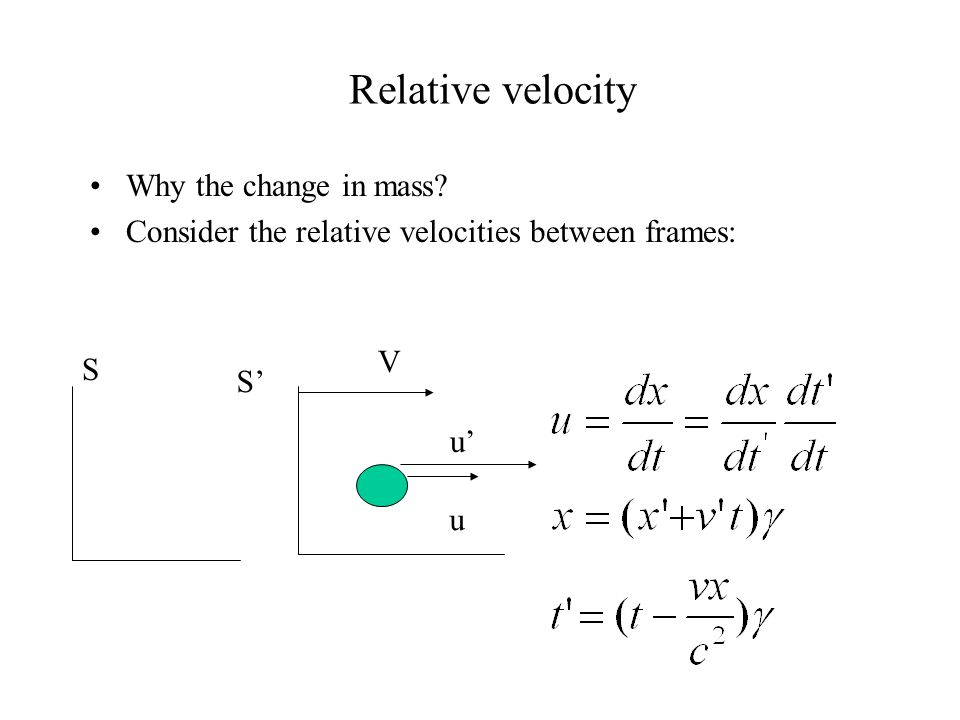 Relative velocity Why the change in mass.