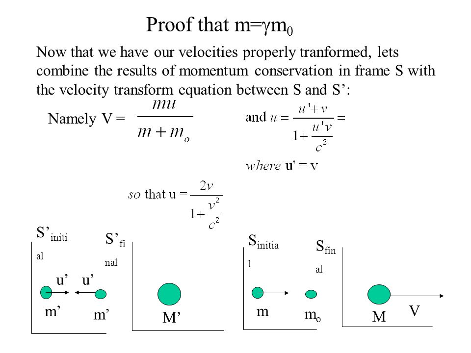 Proof that m= m 0 S fi nal S initi al m m M uu V S fin al S initia l m momo M Now that we have our velocities properly tranformed, lets combine the results of momentum conservation in frame S with the velocity transform equation between S and S: Namely V =