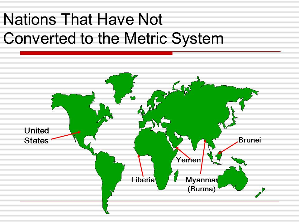 Nations That Have Not Converted to the Metric System United States Liberia Yemen Myanmar (Burma) Brunei