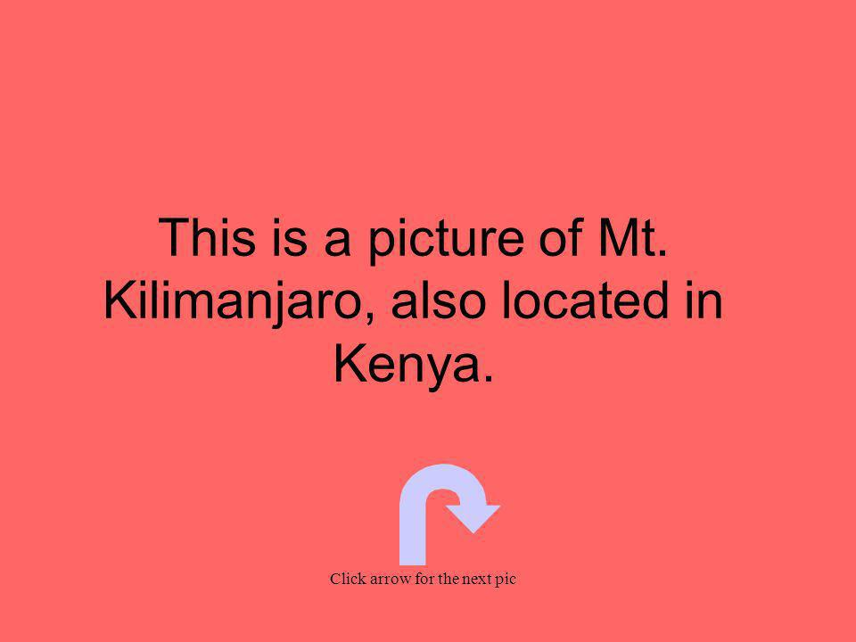 This is a picture of Mt. Kilimanjaro, also located in Kenya. Click arrow for the next pic