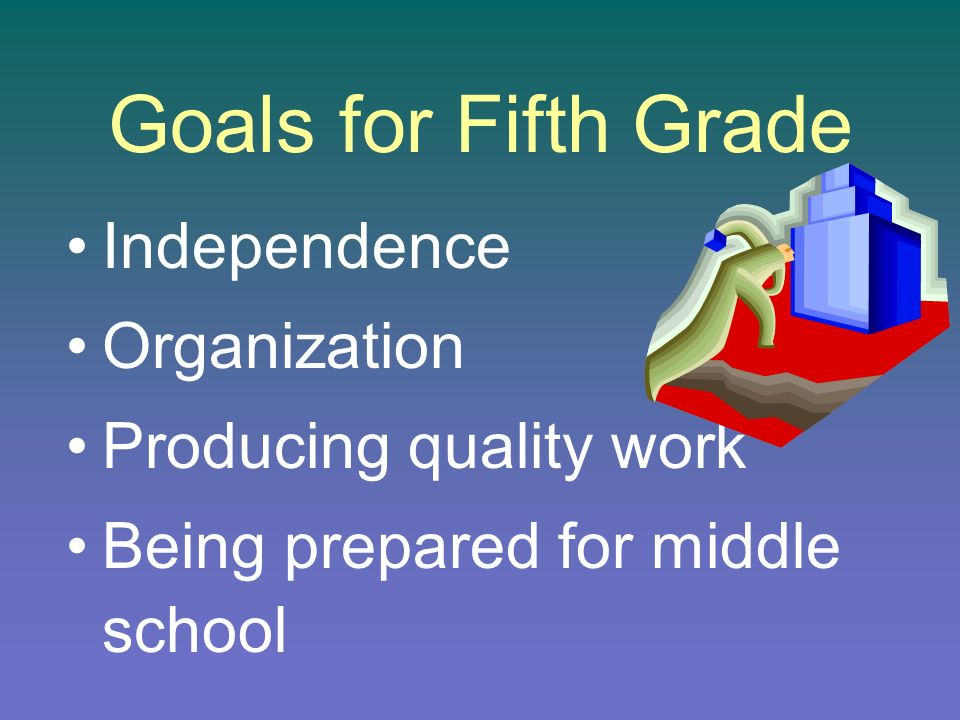 Goals for Fifth Grade Independence Organization Producing quality work Being prepared for middle school