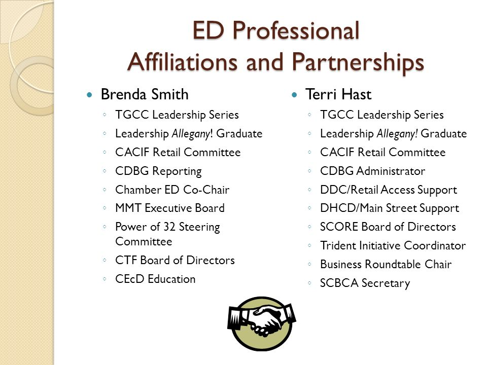 ED Professional Affiliations and Partnerships Brenda Smith TGCC Leadership Series Leadership Allegany.