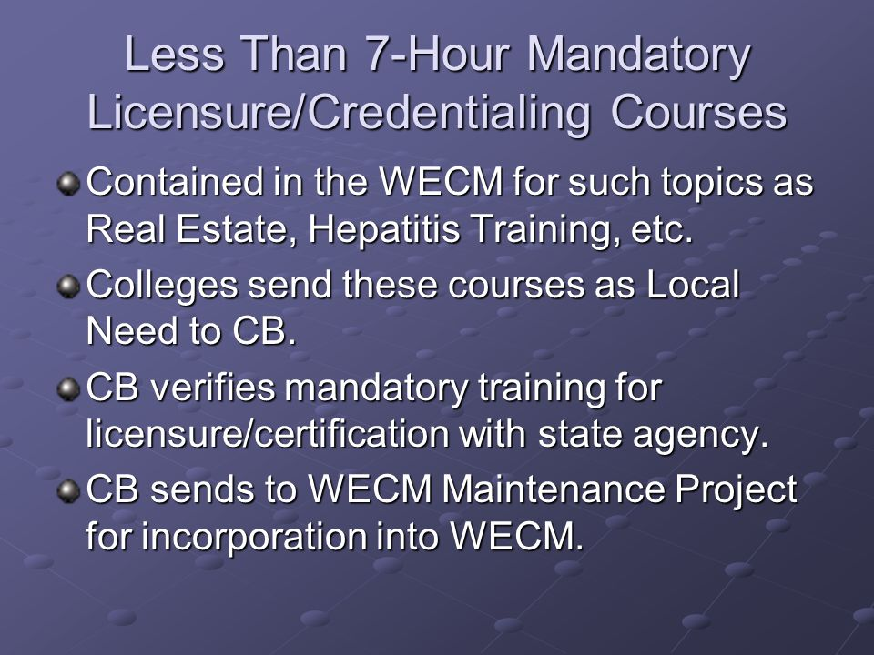 Less Than 7-Hour Mandatory Licensure/Credentialing Courses Contained in the WECM for such topics as Real Estate, Hepatitis Training, etc.