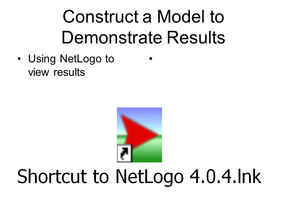 Construct a Model to Demonstrate Results Using NetLogo to view results
