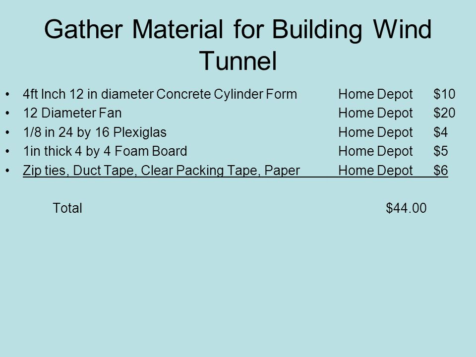 Gather Material for Building Wind Tunnel 4ft lnch 12 in diameter Concrete Cylinder Form Home Depot $10 12 Diameter Fan Home Depot$20 1/8 in 24 by 16 PlexiglasHome Depot$4 1in thick 4 by 4 Foam BoardHome Depot$5 Zip ties, Duct Tape, Clear Packing Tape, PaperHome Depot$6 Total $44.00
