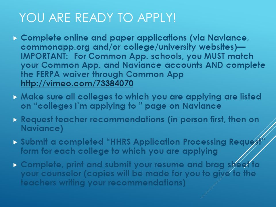 YOU ARE READY TO APPLY.