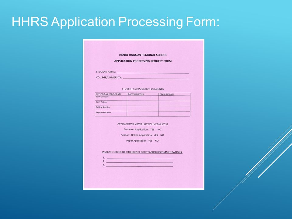 HHRS Application Processing Form: