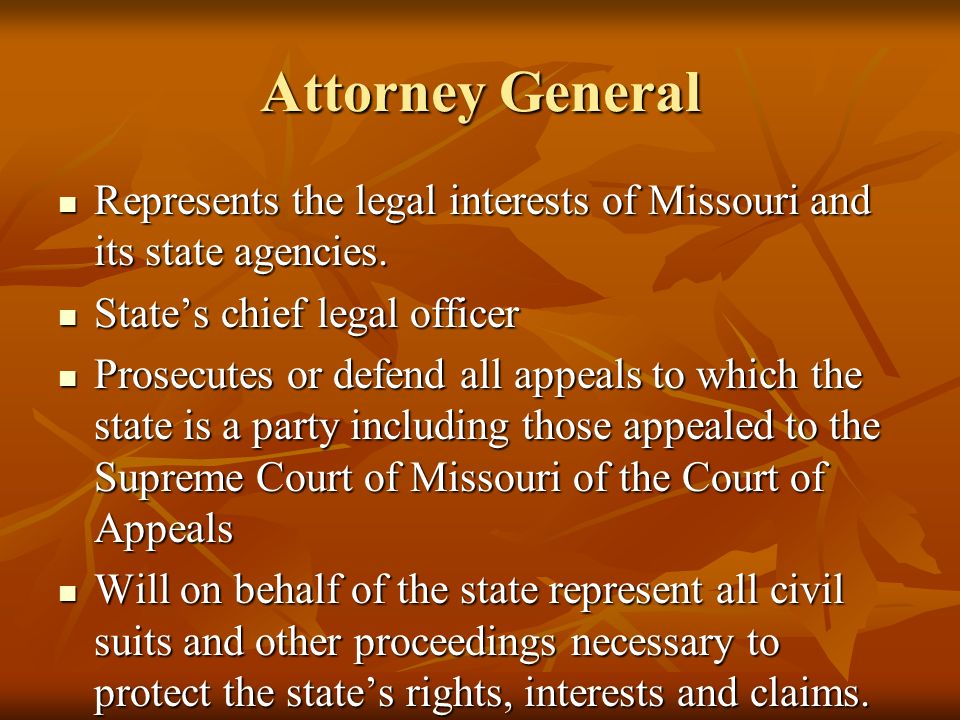 Attorney General Represents the legal interests of Missouri and its state agencies.