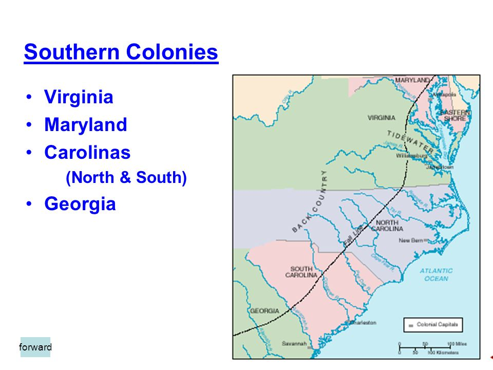 Southern Colonies Virginia Maryland Carolinas (North & South) Georgia forward