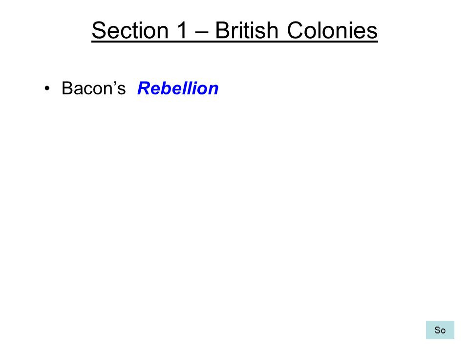 Section 1 – British Colonies Bacons Rebellion So