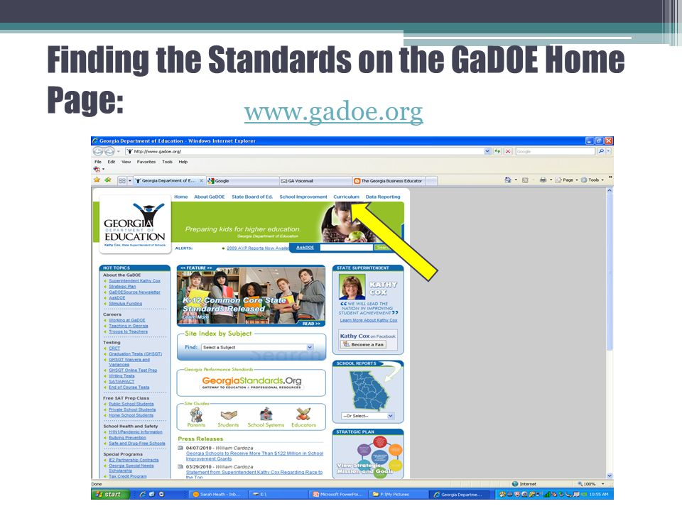Finding the Standards on the GaDOE Home Page: www.gadoe.org