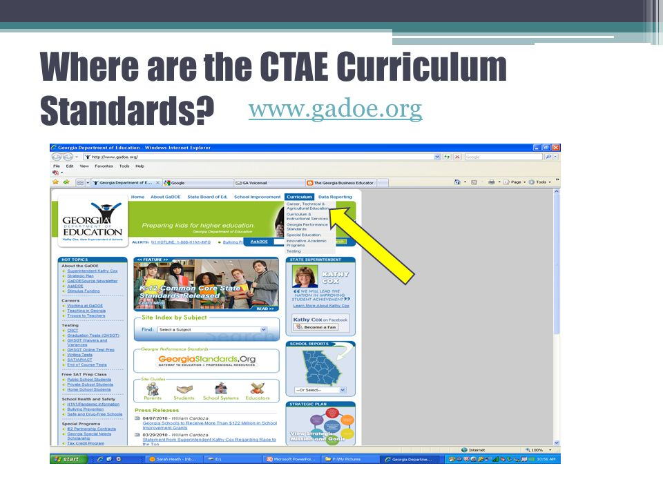 Where are the CTAE Curriculum Standards www.gadoe.org