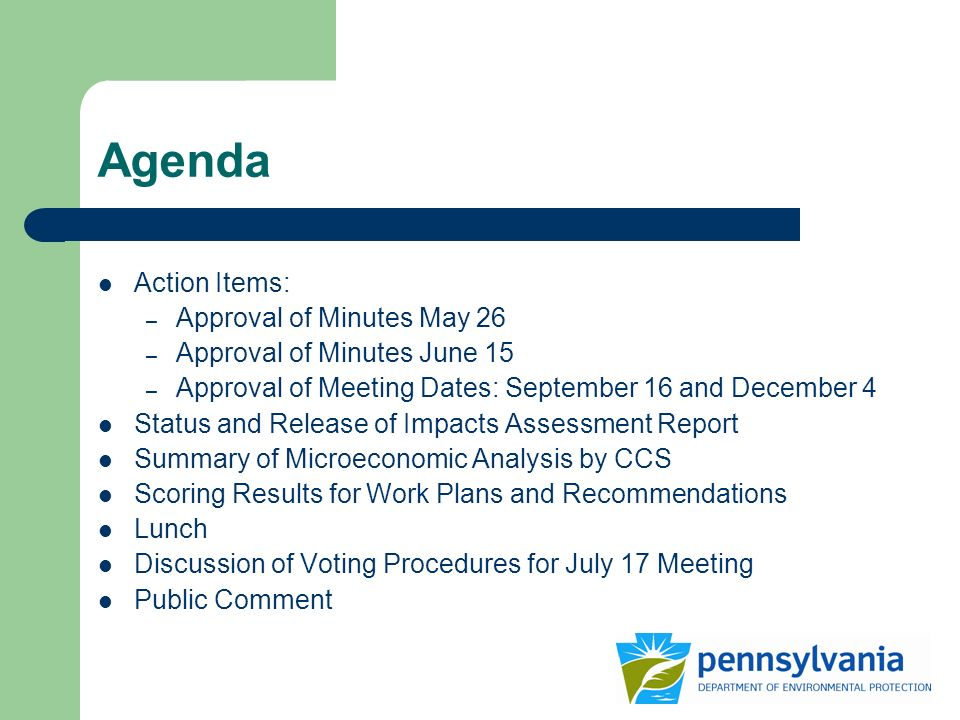 Agenda Action Items: – Approval of Minutes May 26 – Approval of Minutes June 15 – Approval of Meeting Dates: September 16 and December 4 Status and Release of Impacts Assessment Report Summary of Microeconomic Analysis by CCS Scoring Results for Work Plans and Recommendations Lunch Discussion of Voting Procedures for July 17 Meeting Public Comment