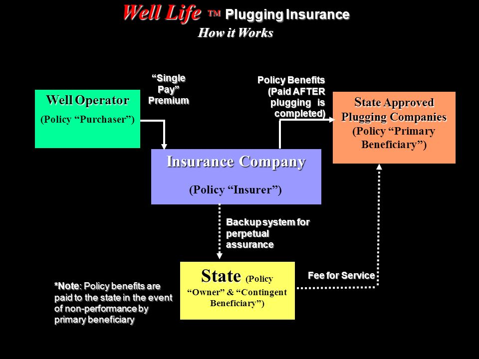 Well Life Plugging Insurance How it Works Well Operator Well Operator (Policy Purchaser) Single Pay Premium Policy Benefits (Paid AFTER plugging is completed) S tate Approved Plugging Companies S tate Approved Plugging Companies (Policy Primary Beneficiary) Insurance Company Insurance Company (Policy Insurer) Backup system for perpetual assurance Fee for Service State State (Policy Owner & Contingent Beneficiary) *Note: Policy benefits are paid to the state in the event of non-performance by primary beneficiary