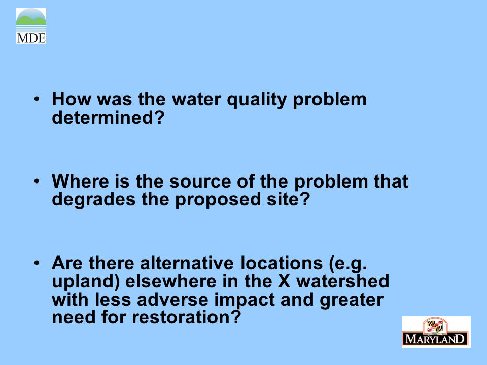 How was the water quality problem determined.