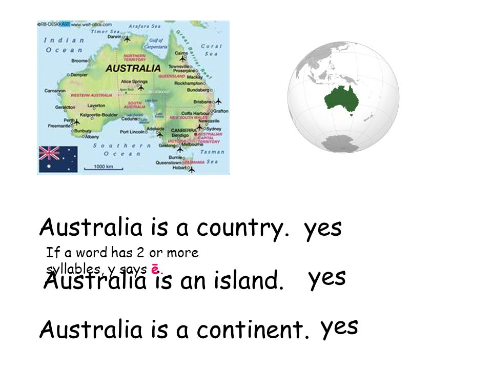Australia is a country. Australia is an island. Australia is a continent.