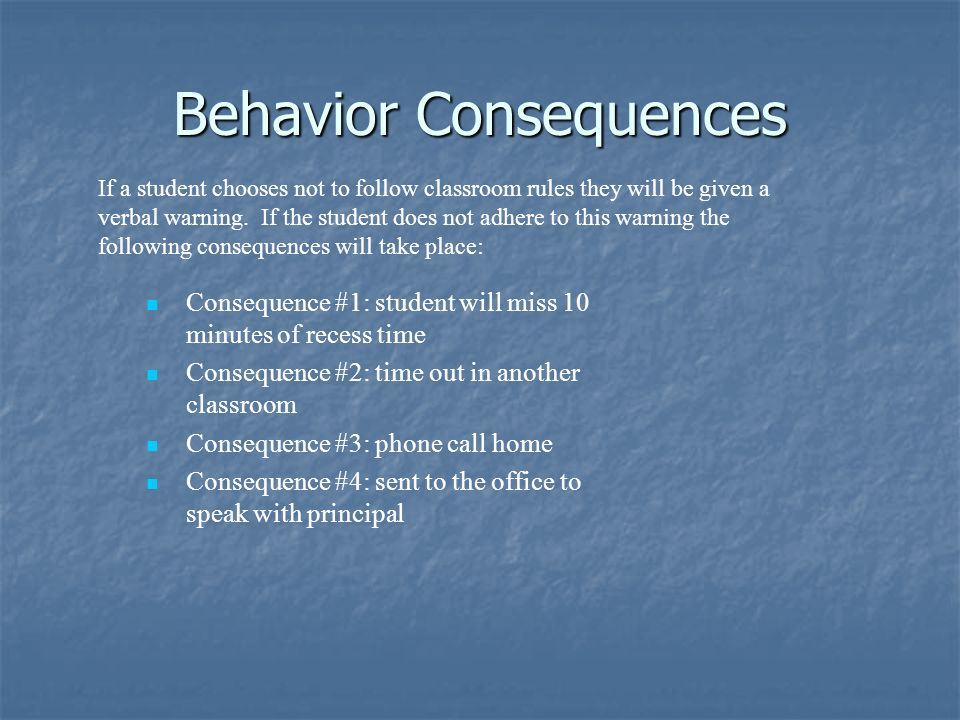 Behavior Consequences Consequence #1: student will miss 10 minutes of recess time Consequence #2: time out in another classroom Consequence #3: phone call home Consequence #4: sent to the office to speak with principal If a student chooses not to follow classroom rules they will be given a verbal warning.