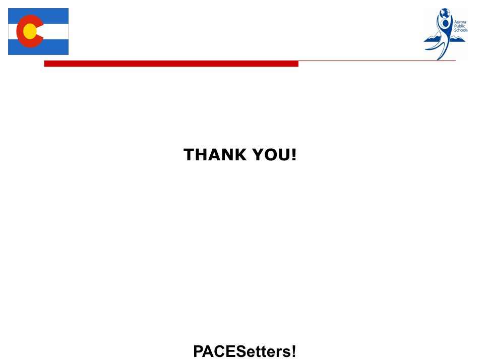 PACESetters! THANK YOU!
