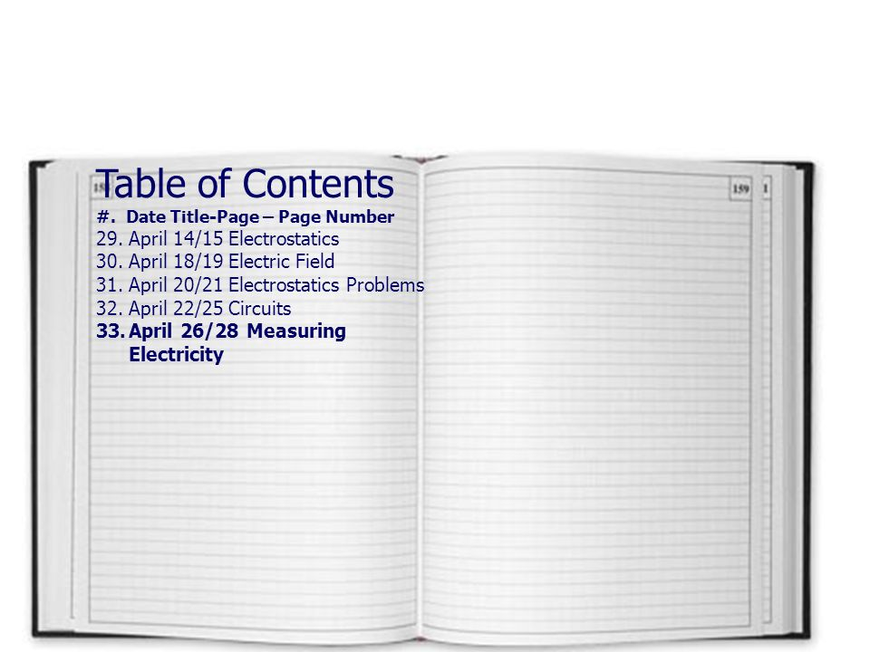 Table of Contents #.