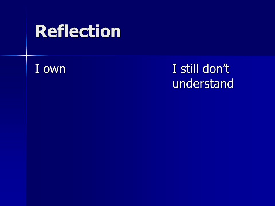 Reflection I ownI still dont understand
