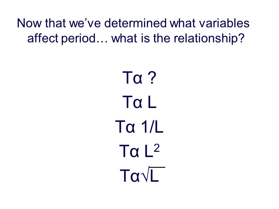Now that weve determined what variables affect period… what is the relationship.