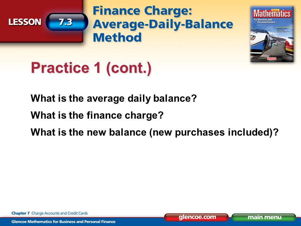 What is the average daily balance. What is the finance charge.