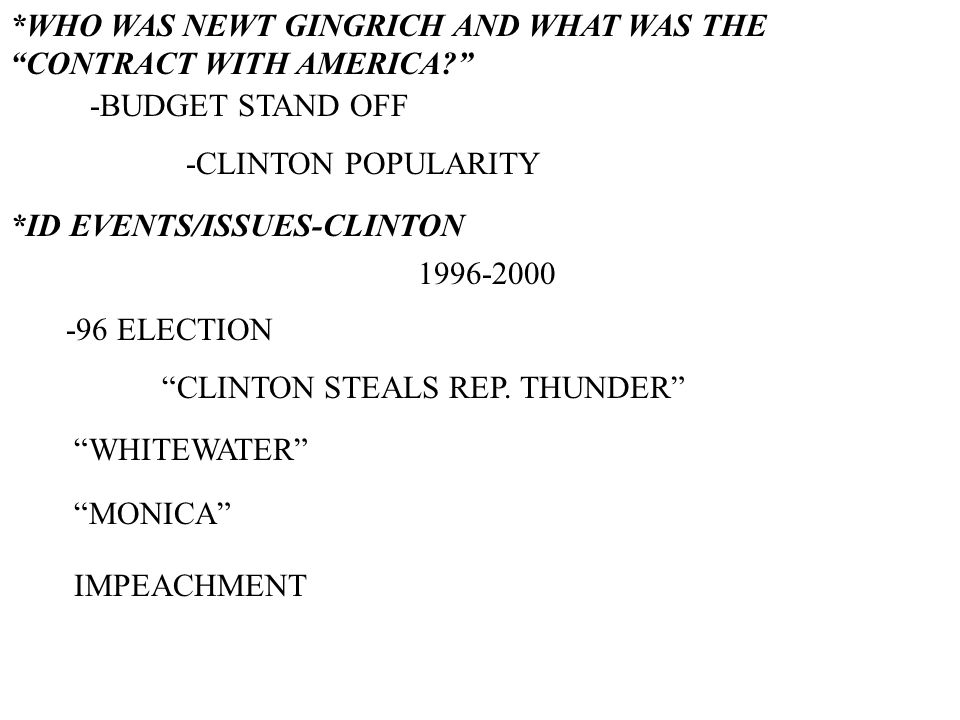 *WHO WAS NEWT GINGRICH AND WHAT WAS THE CONTRACT WITH AMERICA.