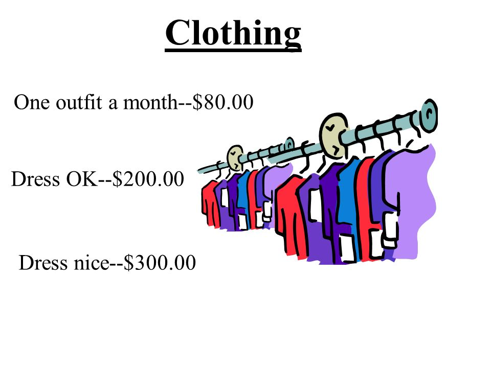 Clothing One outfit a month--$80.00 Dress OK--$200.00 Dress nice--$300.00