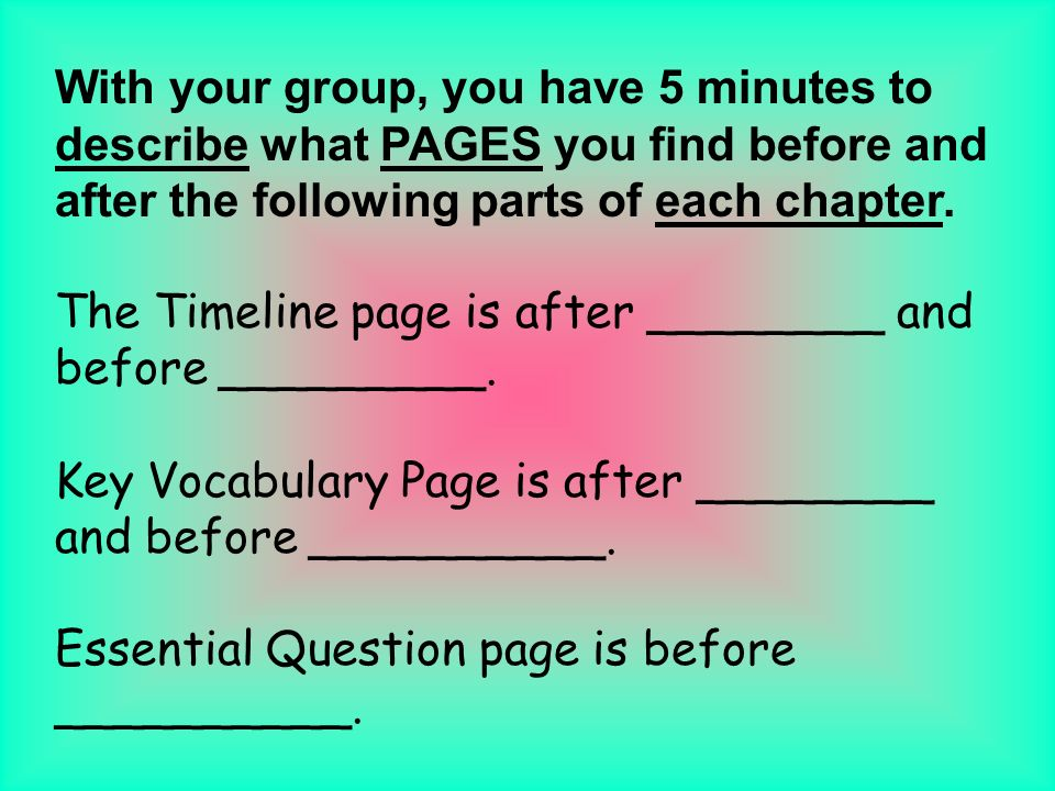 With your group, you have 5 minutes to describe what PAGES you find before and after the following parts of each chapter.