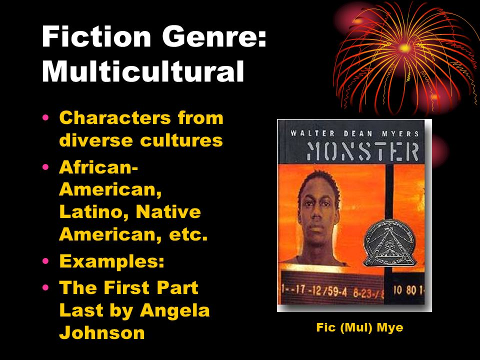 Fiction Genre: Multicultural Characters from diverse cultures African- American, Latino, Native American, etc.