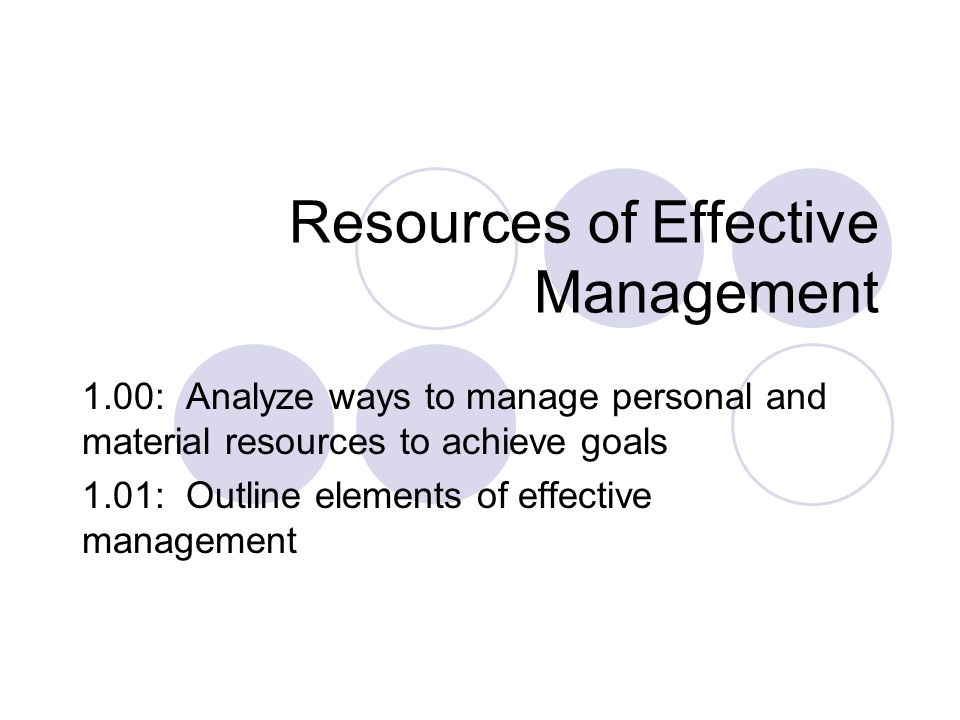 Resources of Effective Management 1.00: Analyze ways to manage personal and material resources to achieve goals 1.01: Outline elements of effective management